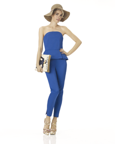 Jumpsuits can be fun, but not if you are looking to minimize larger shoulders and arms. Not to mention that the mid-section must be the same size as the garment, not too long or too short.