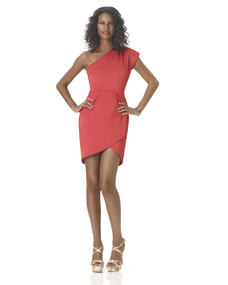 A short, wrap style dress would only attract attention to larger legs.