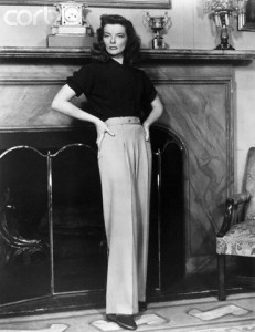 Katherine Hepburn wearing wide leg trousers