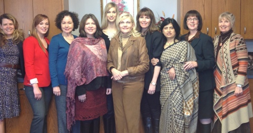 Expressive Image Therapy Association founding members from left; Dani Slaugh, Cristina Johnson, Kathleen Doctor, Dawn Nieto, Camilla, Rebacca Boles, Leslie Jeanfreaw, Sarita Singh, Judith Rasband, and Kathryn Wolters